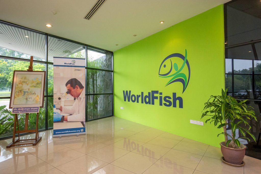 Lobby showing the WorldFish logo and posters for the World Seafood Congress
