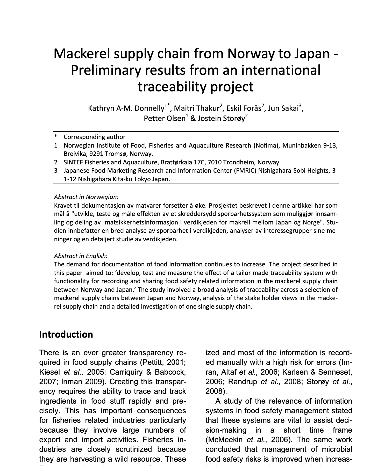 Mackerel supply chain from Norway to Japan – Preliminary results from an international traceability project