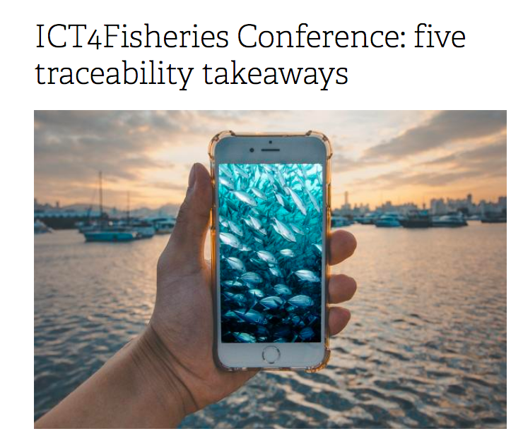 screen shot of title with picture of someone holding a phone showing a picture of fish