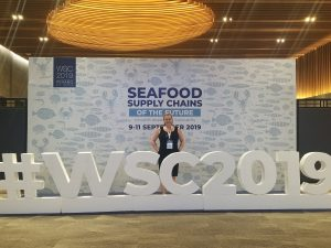 SALT's Jenny Barker in front of World Seafood Congress backdrop