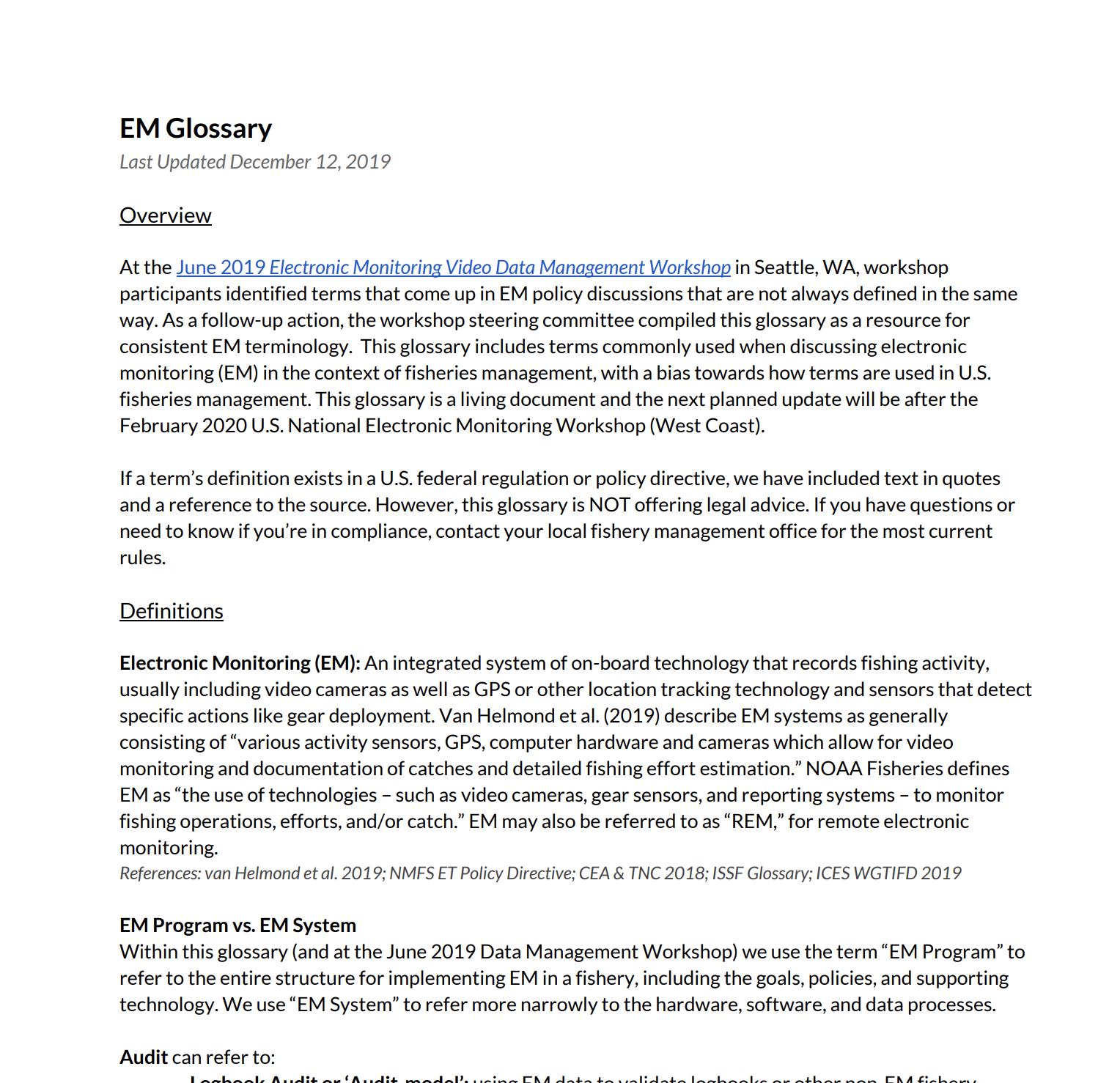 Electronic Monitoring Glossary