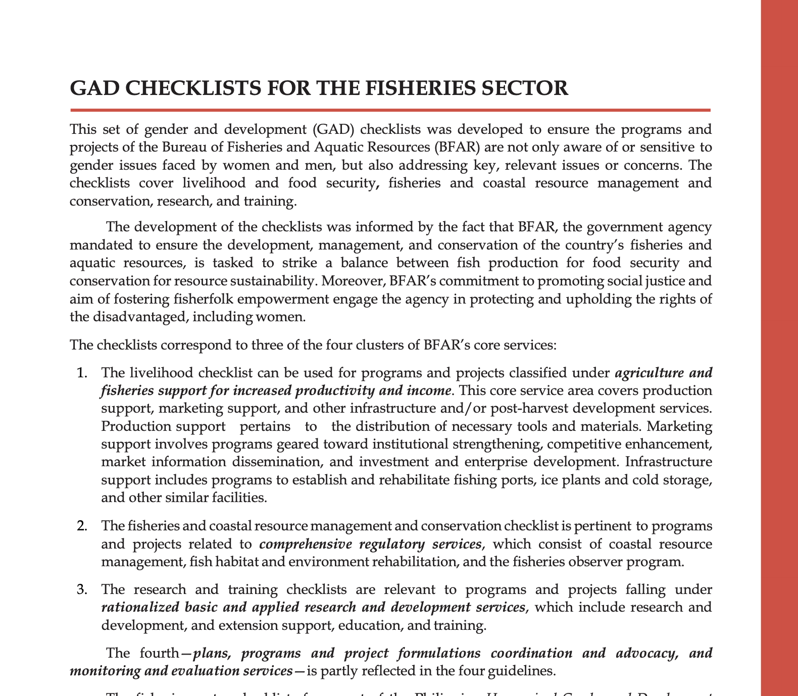 Gender and Development Checklist for the Fisheries Sector