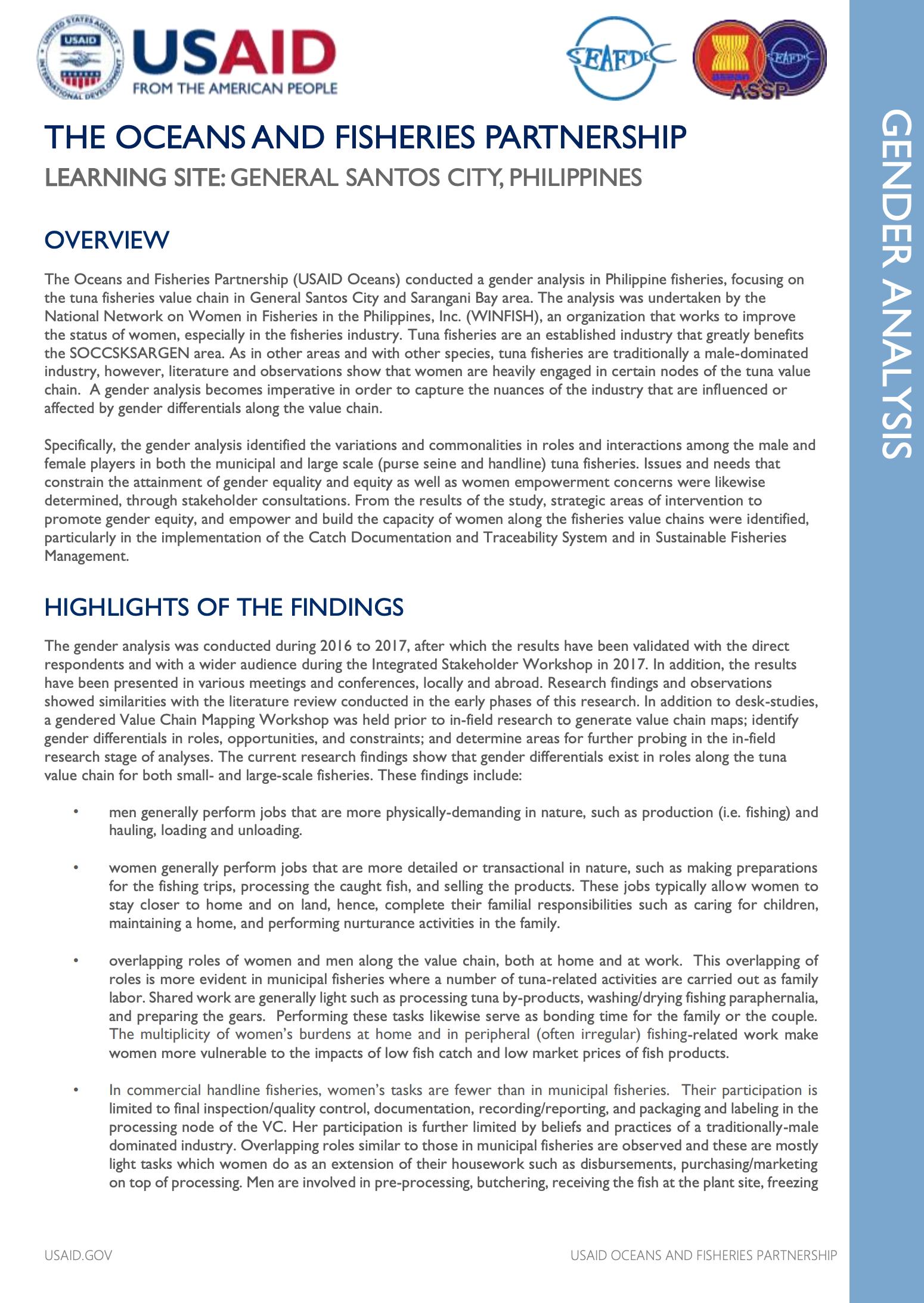 Philippines Gender Analysis Summary