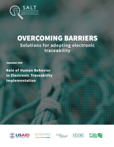 photo of net in background, overlaid with white dots for design and the title: Overcoming Barriers, the role of human behavior in electronic traceability implementation