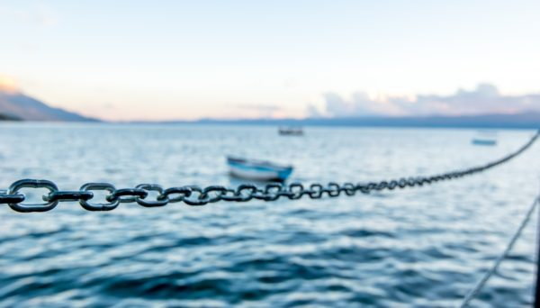chain on boat with boat in background