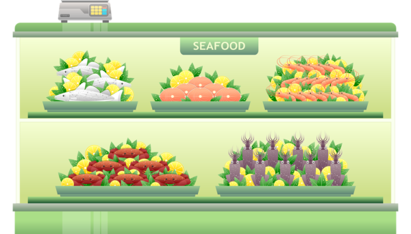 cartoon image of seafood shelf