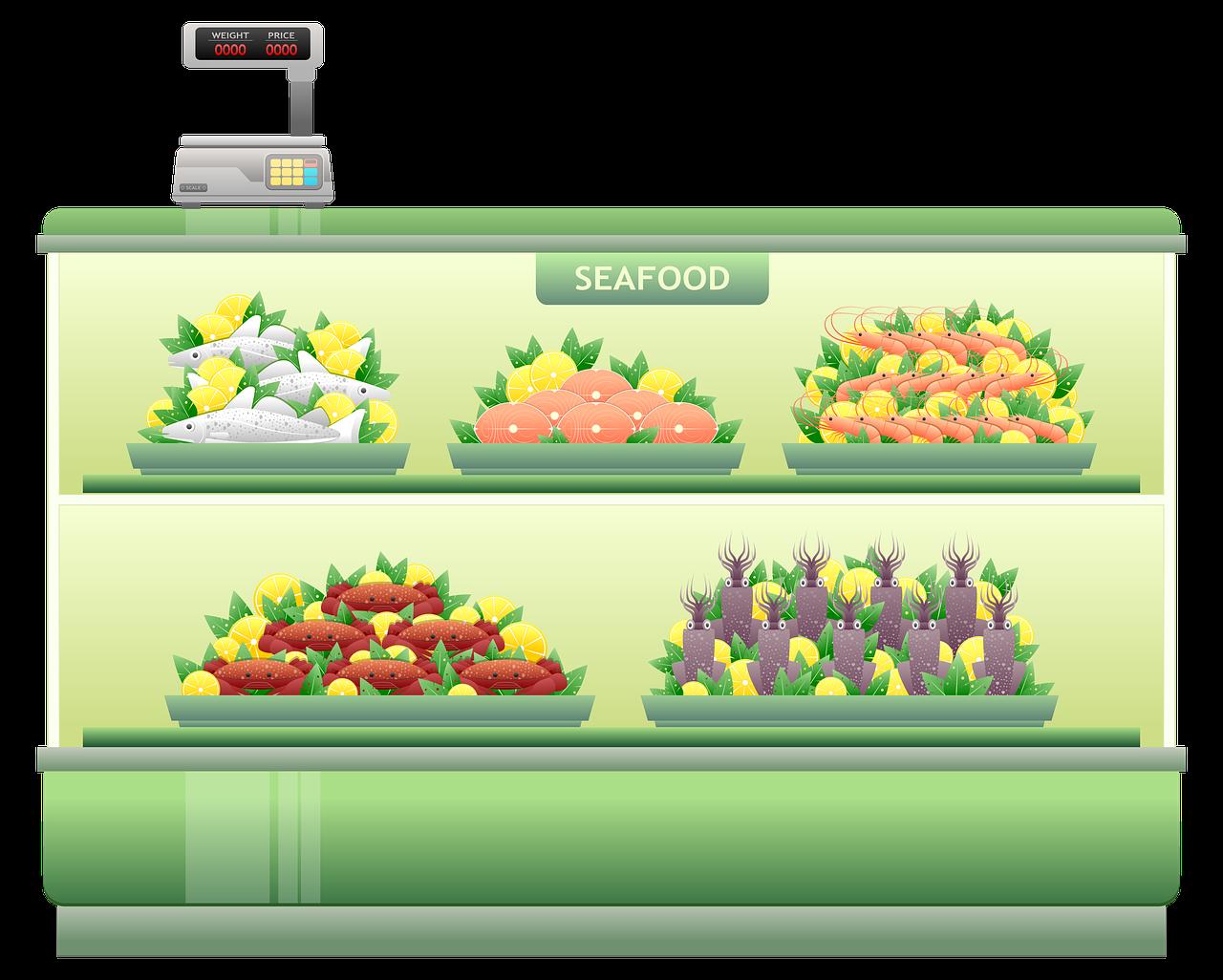 cartoon image of seafood shelf