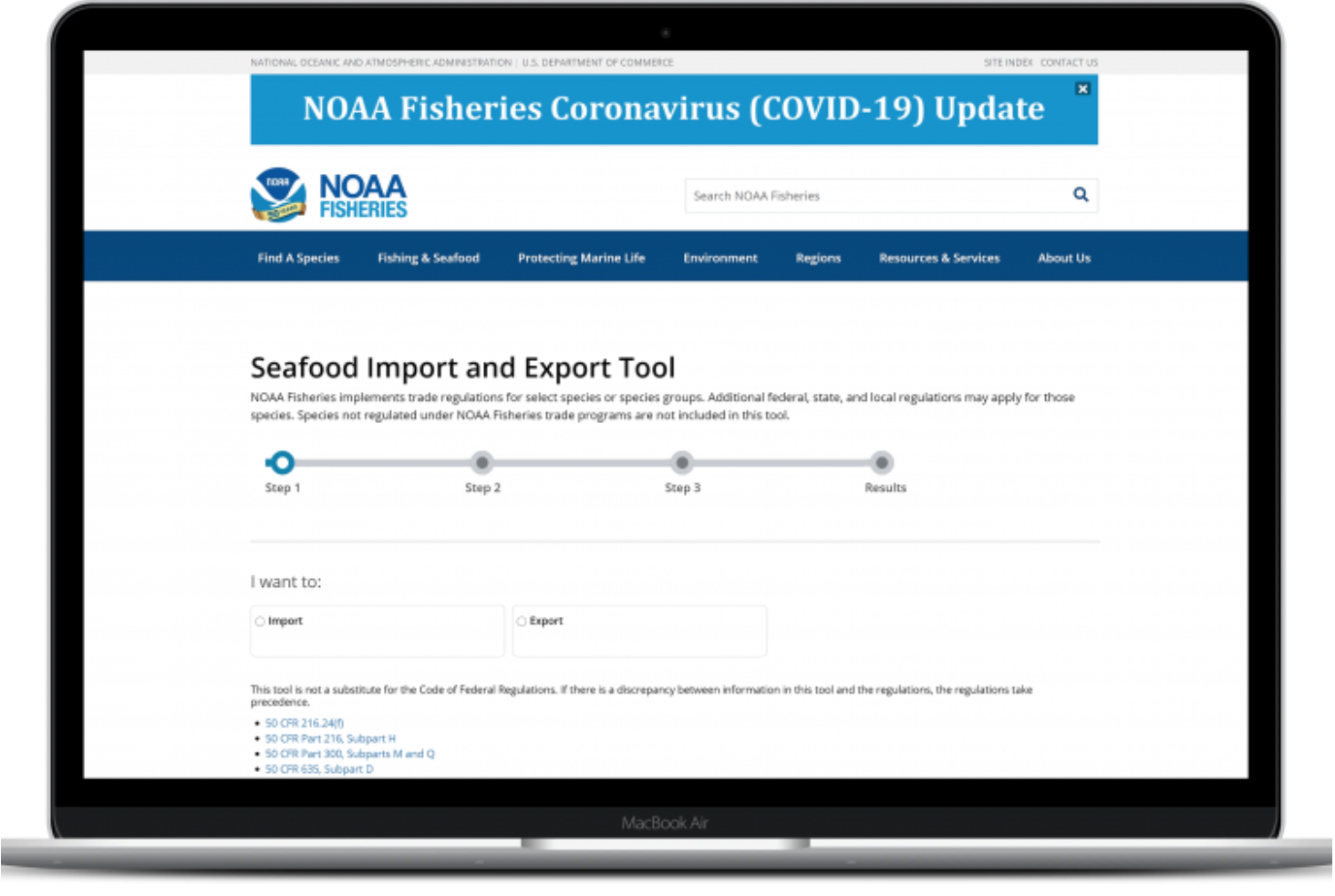 Seafood Import and Export Tool