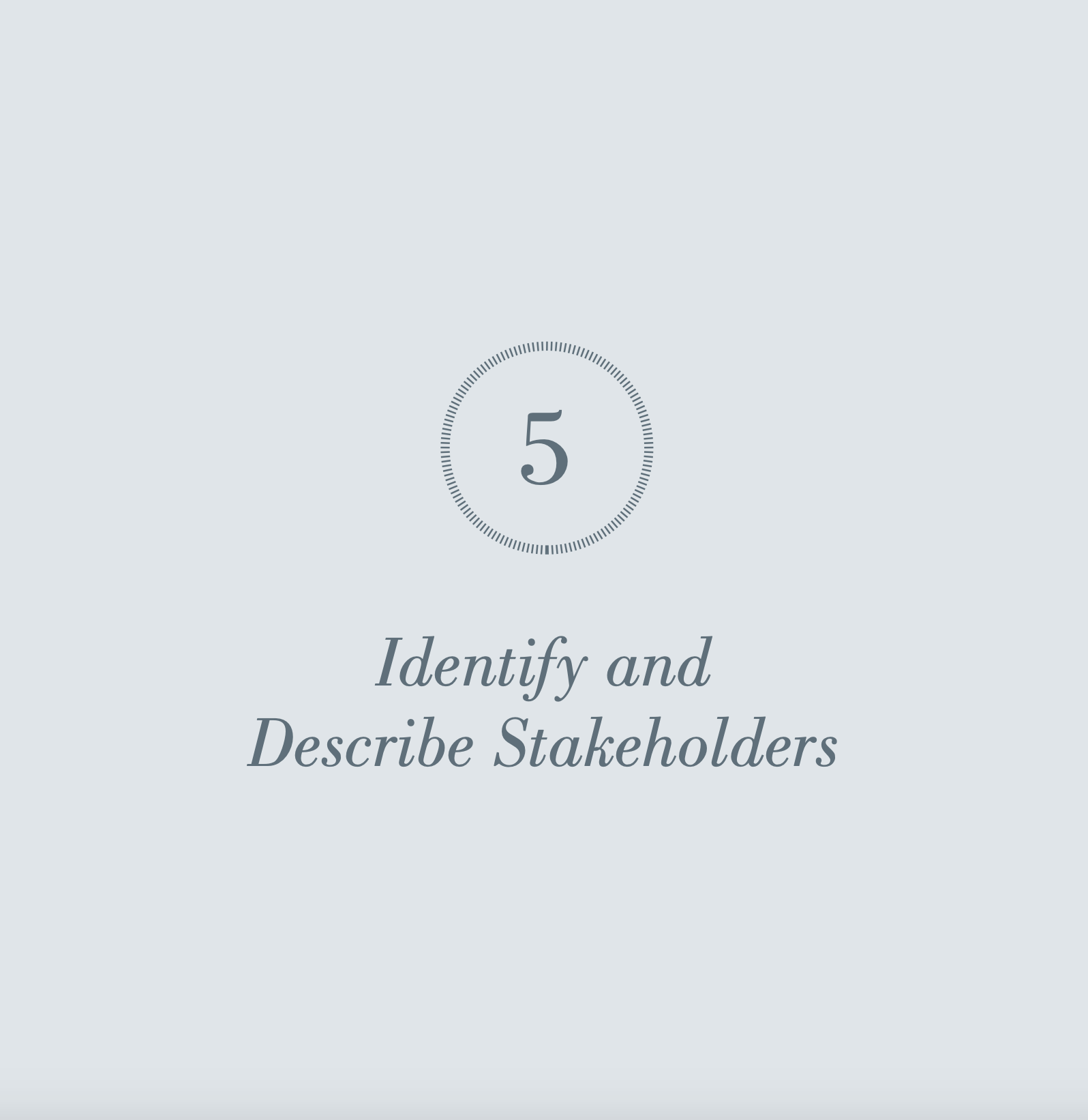 Identify and Describe Stakeholders