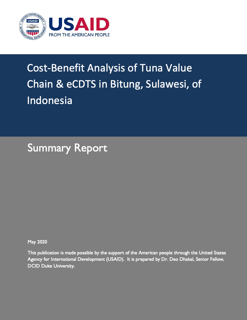 Cost-Benefit Analysis of Tuna Value Chain & eCDTS in Bitung, Sulawesi, of Indonesia