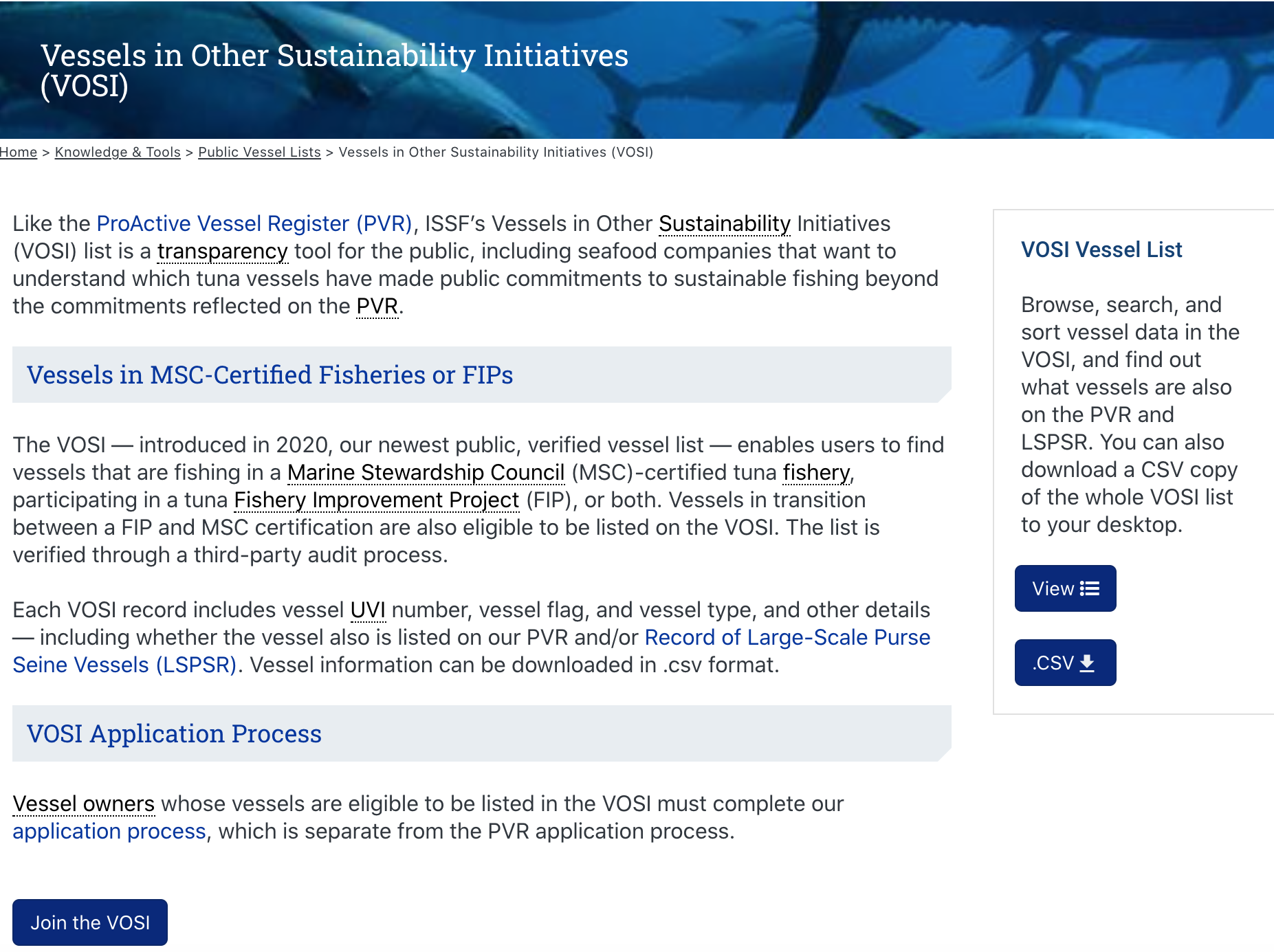 Vessels in Other Sustainability Initiatives (VOSI)
