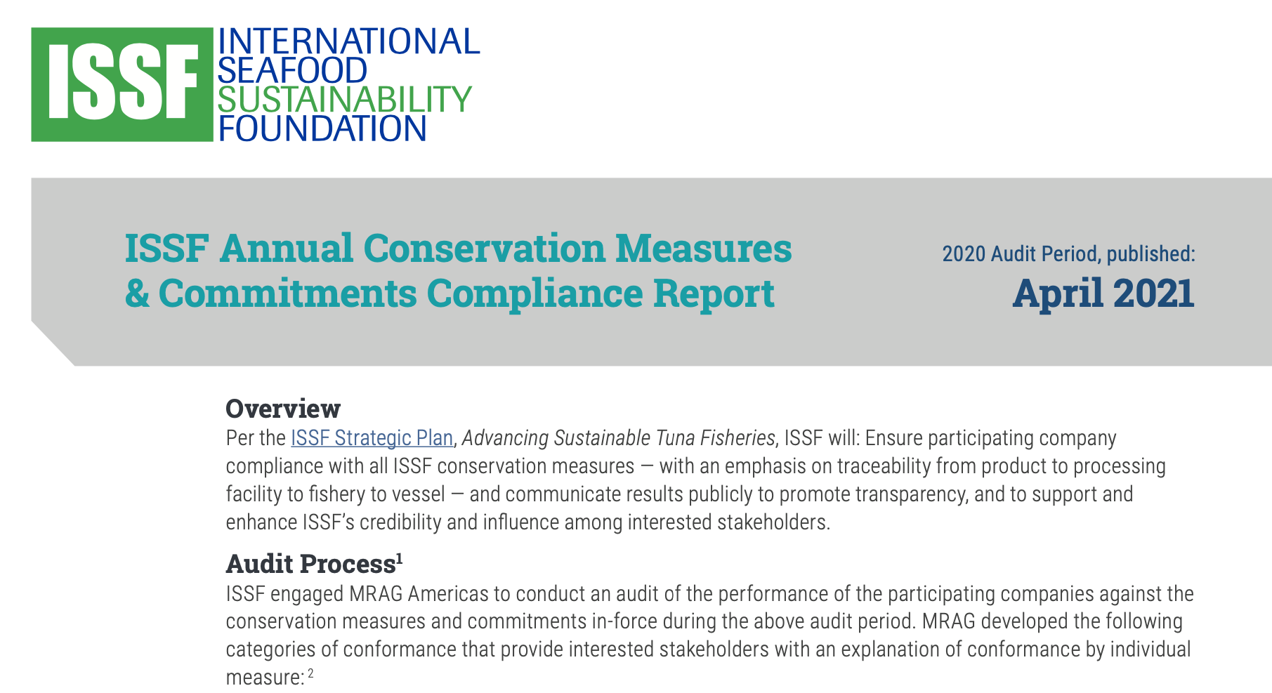ISSF Annual Conservation Measures & Commitments Compliance Report