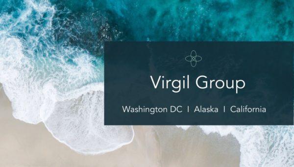Virgil Group name over ocean image