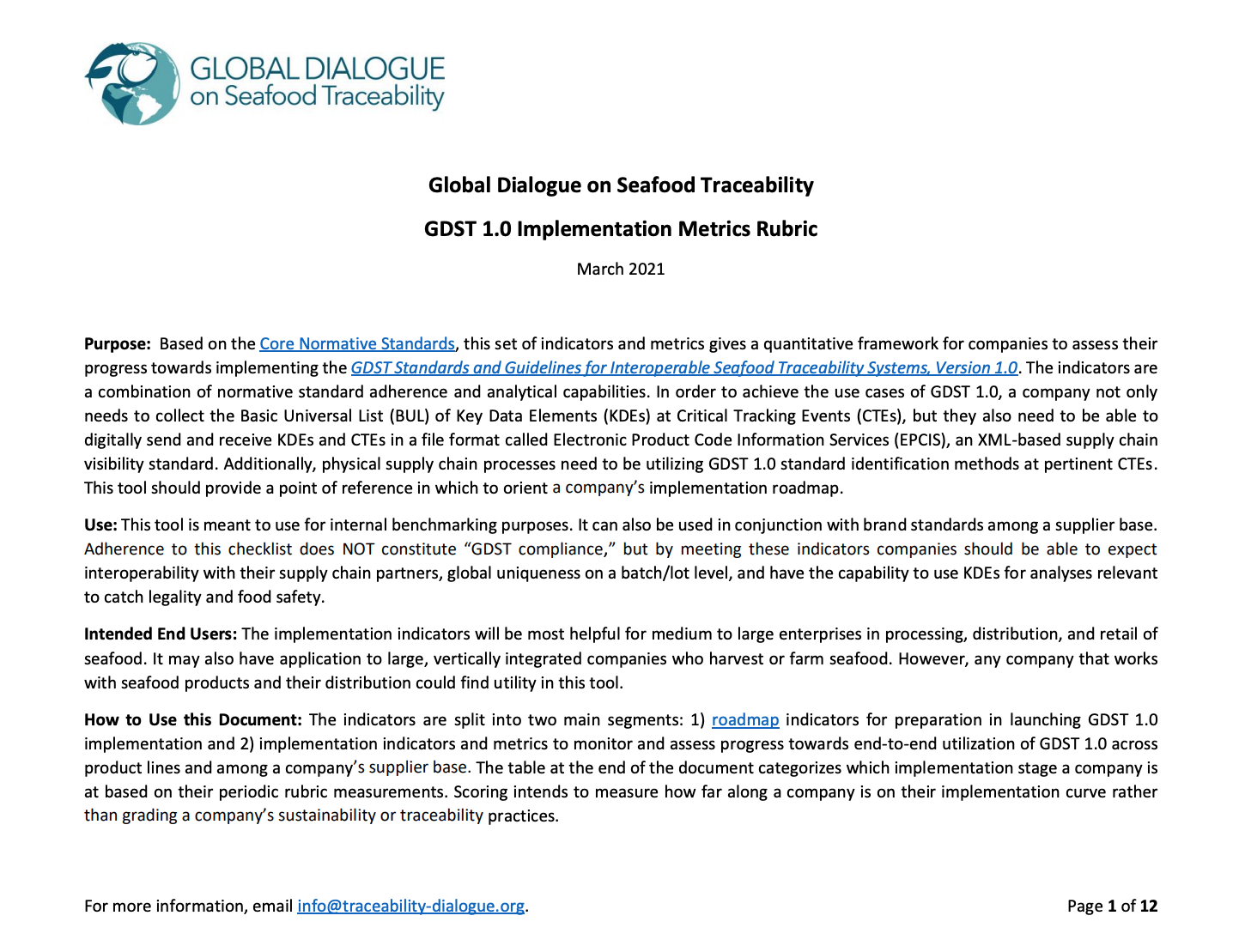 Global Dialogue on Seafood Traceability 1.0 Implementation Metrics Rubric