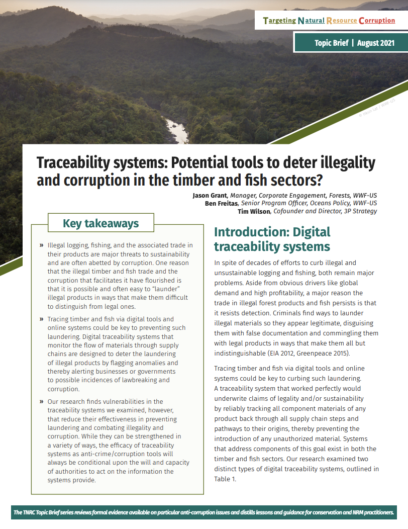 Traceability Systems: Potential Tools to Deter Illegality and Corruption in the Timber and Fish Dectors?